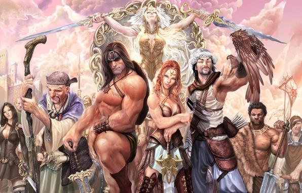 Картинка оружие, девушки, меч, войны, арт, варвар, Stjepan Sejic