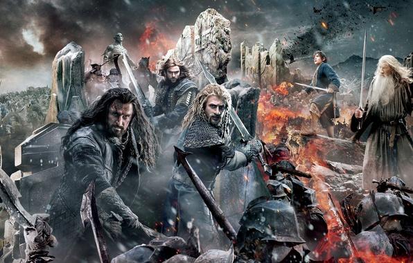 Картинка Sky, Fire, Men, Wallpaper, Baggins, Army, Gandalf, Ian McKellen, Martin Freeman, Richard Armitage, Weapons, Cloud, …