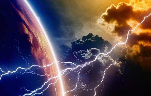 Картинка lightning, energy, planet, atmosphere