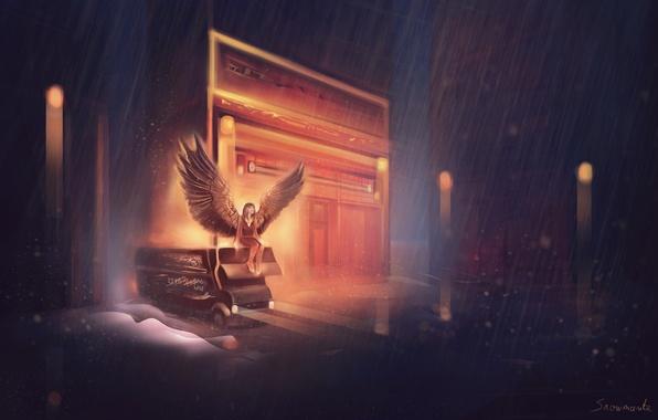 Картинка машина, девушка, дождь, крылья, ангел, арт