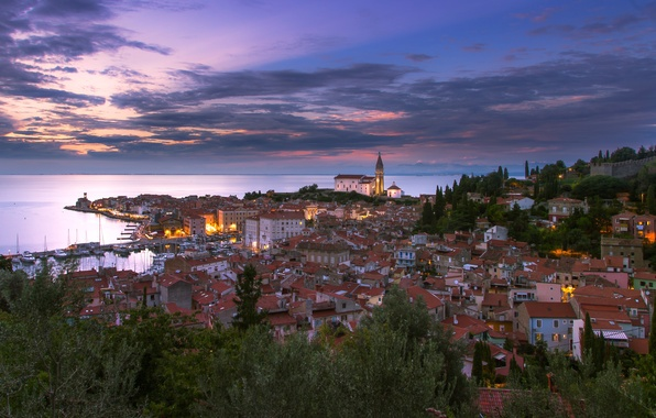 Картинка море, закат, побережье, здания, панорама, Пиран, Словения, Slovenia, Адриатическое море, Adriatic Sea, Piran, Piran Bay, …