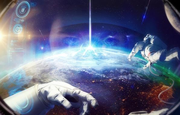 Картинка космос, планета, космонавт, скафандр, орбита, астронавт