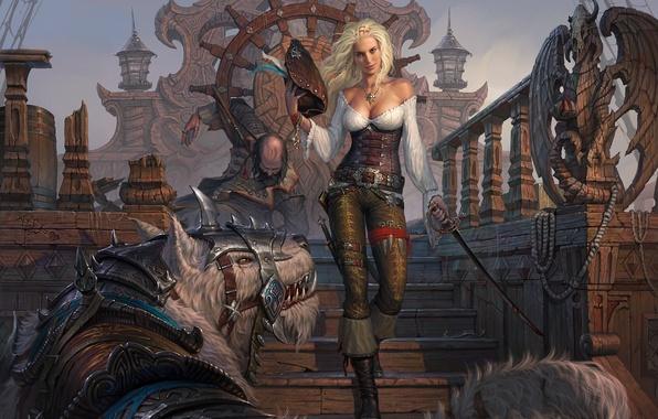 Картинка взгляд, девушка, оружие, корабль, шляпа, существо, арт, блондинка, зверь, пиратка