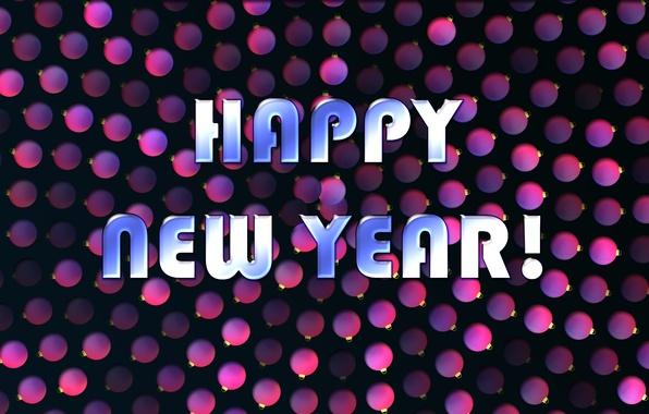 Картинка шарики, текст, фон, цвет, Новый год, Праздник, обои. New year