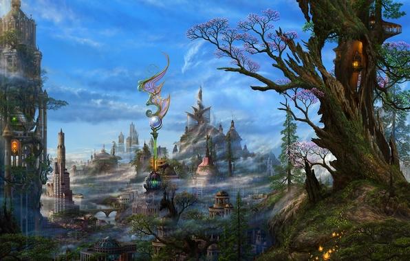 Картинка облака, деревья, город, фентези, арт, дымка, ucchiey, kazamasa uchio