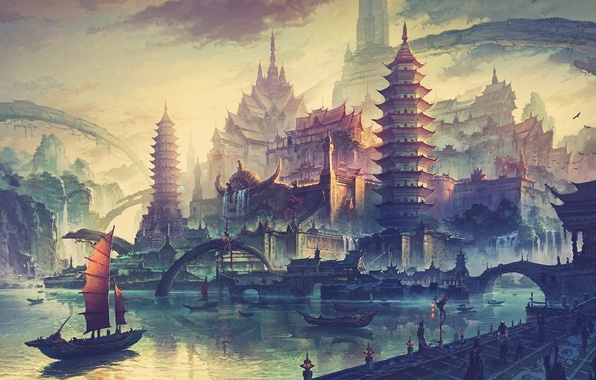 Картинка закат, мост, город, река, рассвет, азия, корабль, дома, утро, набережная, концепт-арт, художник Минг Фан, Ming …