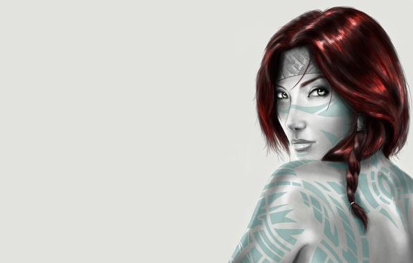 Картинка девушка, минимализм, косичка, индеец, indian, красные волосы