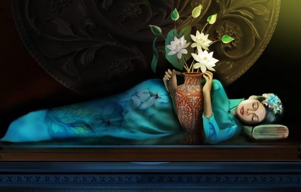 Картинка девушки, фэнтези, girl, fantasy, лотосы, lotuses