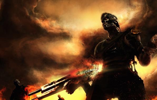 Картинка оружие, огонь, дым, бой, арт, искры, терминаторы