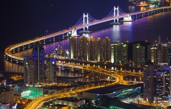 Картинка ночь, мост, город, огни, пролив, вид, здания, дома, освещение, подсветка, панорама, Пусан, Кванан, Республика Корея