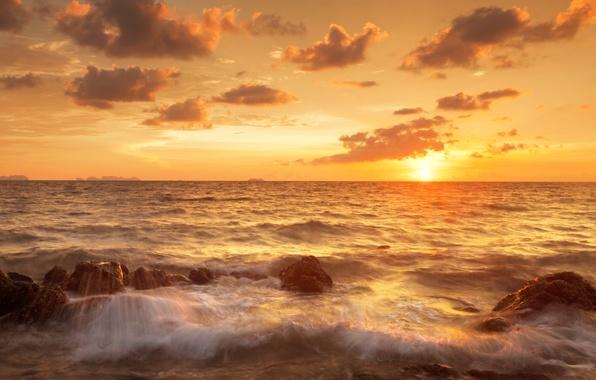 Картинка песок, море, небо, облака, пейзаж, природа, берег, Таиланд, Thailand, sky, sea, landscape, nature, clouds, sand, …