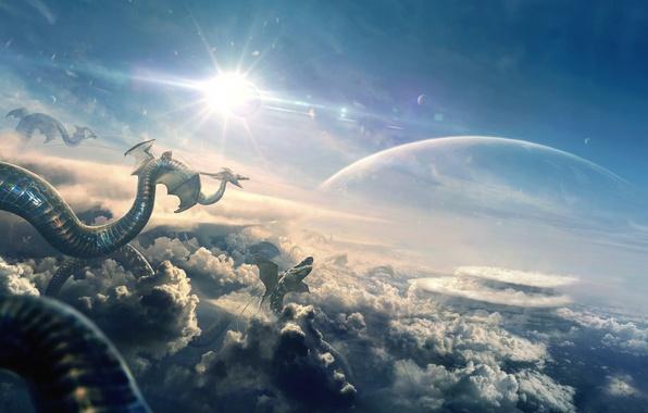 Картинка небо, солнце, облака, свет, дракон, планета, арт