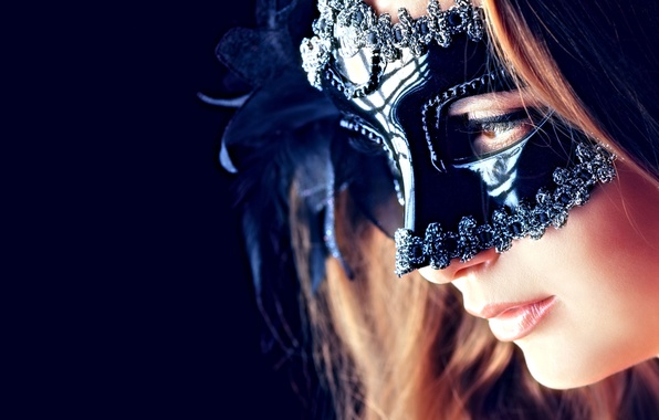 Картинка sexy, woman, eyes, lips, mask