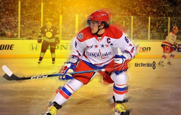 Картинка лед, форма, клюшка, хоккей, коньки, Александр Овечкин, NHL, НХЛ, Washington Capitals, hockey, Alexander Ovechkin