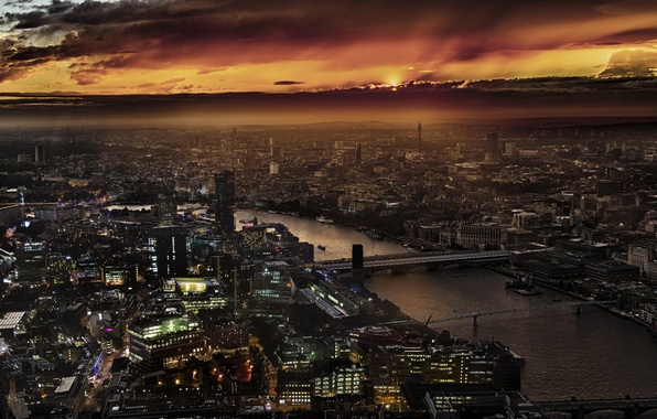 Картинка City, Landscape, Sunset, London, England, Thames, Shard