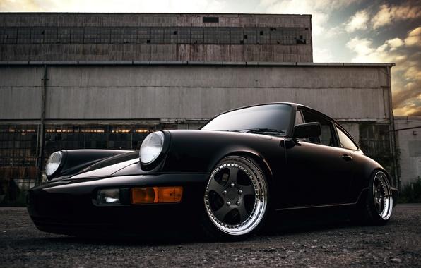 Картинка 911, Porsche, black, front, 964, Carrera 2