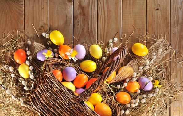 Картинка яйца, весна, Пасха, happy, wood, верба, spring, Easter, eggs, holiday