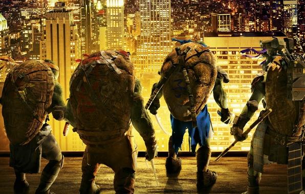 Картинка крыша, ночь, город, огни, оружие, фантастика, фэнтези, герои, Черепашки-ниндзя, братья, Raphael, Leonardo, Donatello, Teenage Mutant …