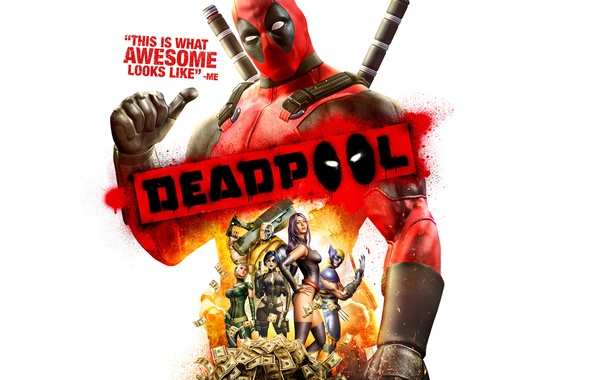 Картинка оружие, огонь, пламя, деньги, Росомаха, доллары, мечи, Wolverine, баксы, Marvel, Дэдпул, Wade Wilson, Deadpool: The …