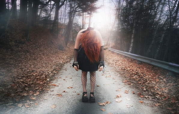 Картинка дорога, осень, девушка, ситуация