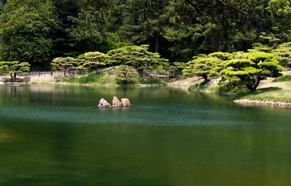 Картинка пруд, парк, Япония, Takamatsu, Ritsurin garden, 栗林公園