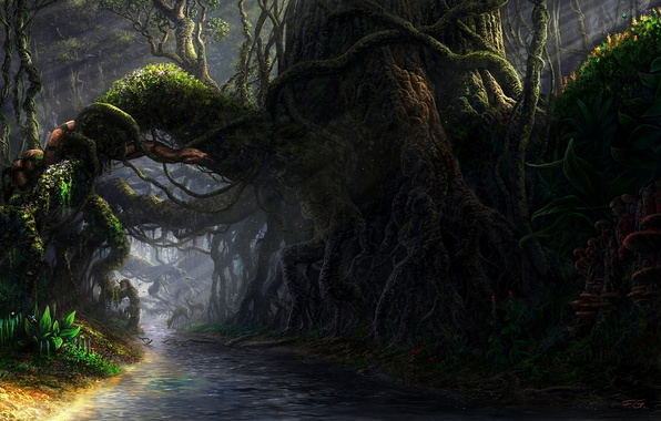 Картинка лес, корни, река, грибы, пень, змея, чаща, арт, змей, Fel-X, антилопы, лианы