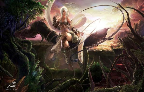 Картинка девушка, закат, природа, фентези