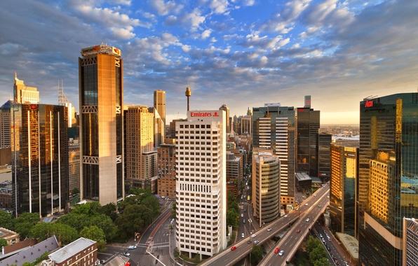 Картинка башня, небоскребы, Австралия, эстакада, Сидней