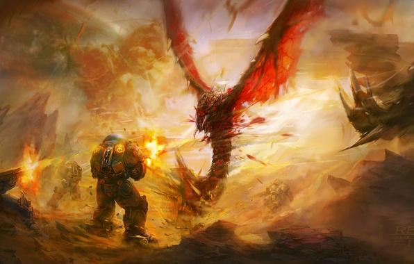 Картинка StarCraft II, фан арт, Муталиск, Морпехи