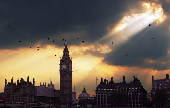 Фото обои закат, Лондон, Биг Бен, sunset, London, Big Ben