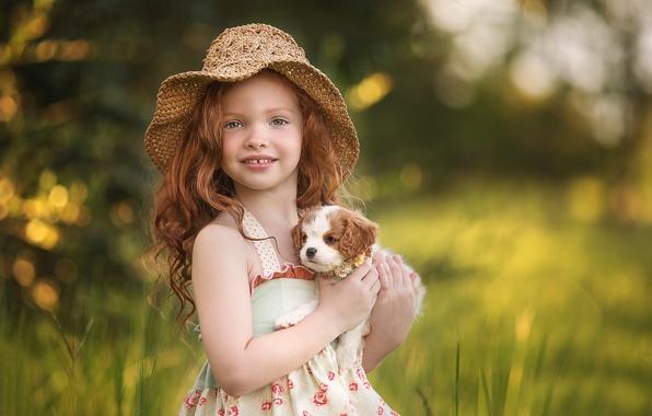 Картинка девочка, собачка, рыжеволосая