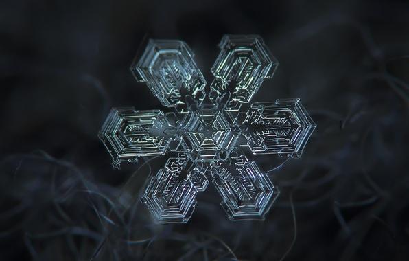 Картинка зима, макро, снег, волокна, снежинка