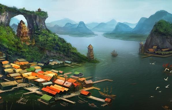 Картинка море, острова, вид, корабль, дома, арт, пирс, арка, храм, arvalis