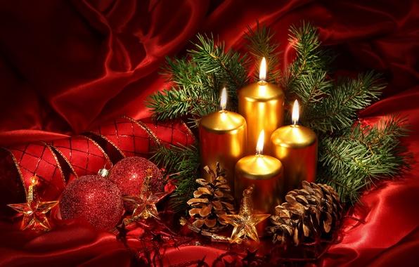 Картинка украшения, красный, огонь, шары, звёзды, Свечи, Рождество, лента, золотой, шишки, New Year, новогодние, decoration, Chrismas, …