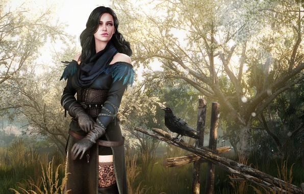 Картинка девушка, женщина, сад, платье, фэнтези, наряд, girl, fantasy, ворон, Ведьмак, dress, woman, crow, garden, чародейка, …