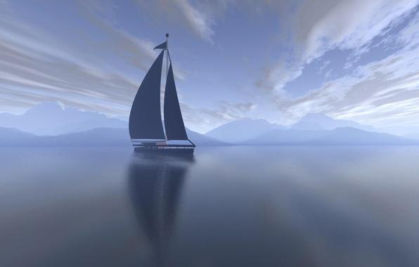 Картинка море, облака, утро, яхта, парус, Пейзаж