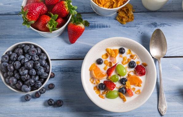 Картинка завтрак, berry, fruit, фруктовый, Breakfast, ягодный, Вкусный десерт, Delicious dessert