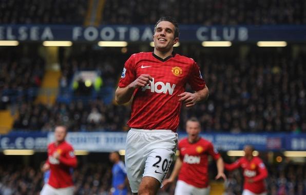 Картинка футбол, клуб, форма, футболист, гол, football, игрок, Robin, празднование, Manchester United, Манчестер Юнайтед, Robin van …