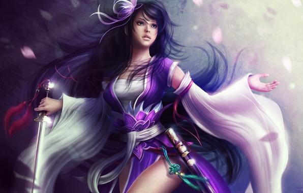 Картинка девушка, волосы, меч, лепестки, арт