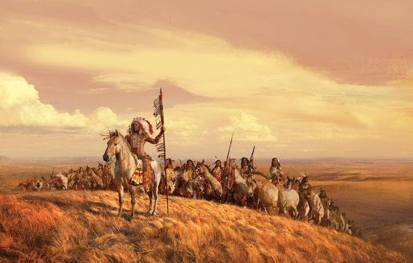 Картинка поле, небо, трава, облака, рисунок, картина, лошади, воины, индейцы, вожак, воля
