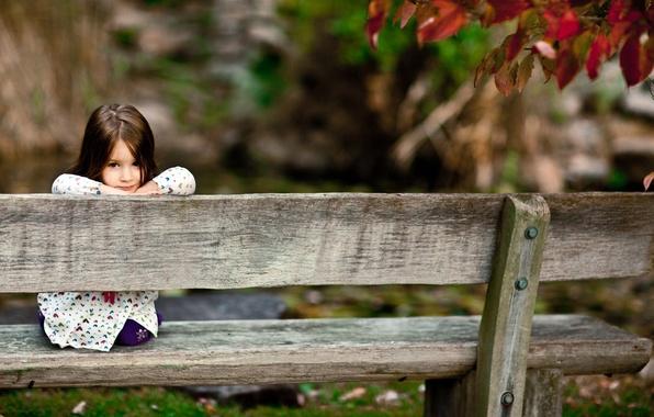 Картинка лес, взгляд, скамейка, дети, улыбка, парк, дерево, настроение, девочки, доски, девочка, скамейки, улыбки, smile, сидения