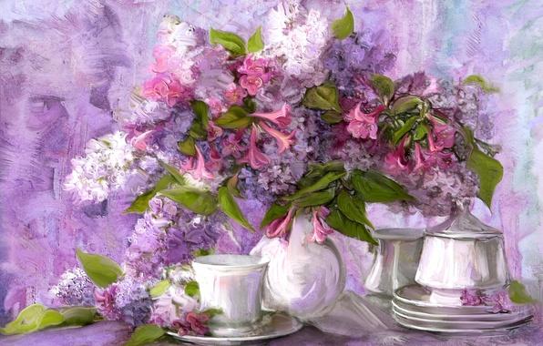 Картинка цветы, букет, картина, чашка, натюрморт, блюдце, сервиз
