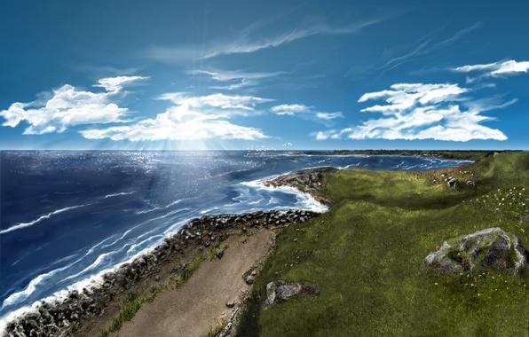Картинка море, трава, пена, облака, лучи, камни, ландшафт, берег, рисунок красками, пейзад