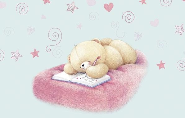 Картинка настроение, тайна, арт, мишка, сердечки, влюблённость, детская, дневник, Forever Friends Deckchair bear