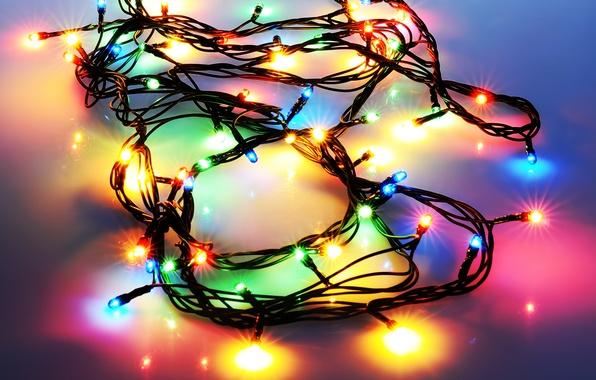 Картинка свет, огоньки, Новый Год, Рождество, гирлянда, праздники