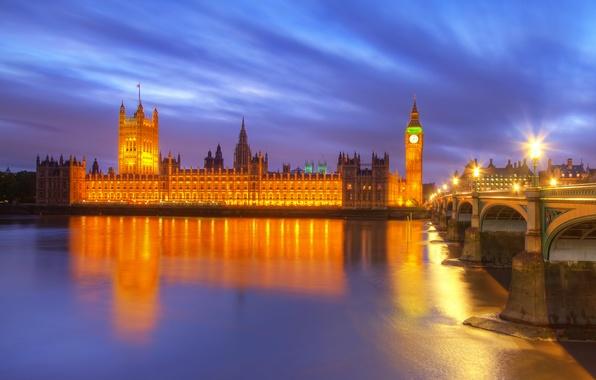 Картинка ночь, мост, city, город, lights, огни, отражение, река, Англия, Лондон, здания, освещение, фонари, Великобритания, Темза, …