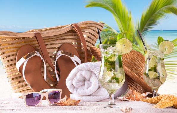 Картинка море, пляж, отдых, полотенце, очки, лайм, summer, сумка, beach, sea, sand, paradise, mojito, cocktail, мохито, …