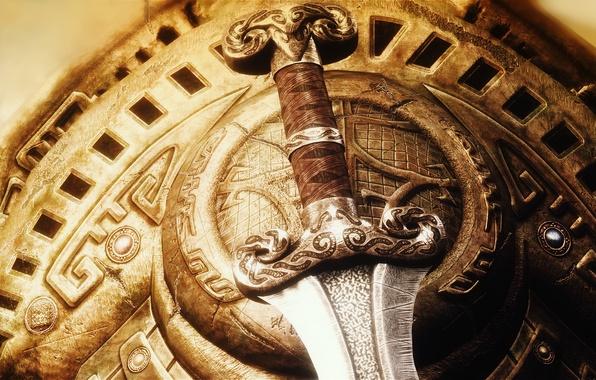 Картинка оружие, меч, щит, клинок, Skyrim, The Elder Scrolls V