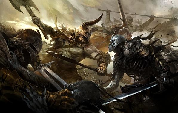 Картинка оружие, кровь, доспехи, битва, Арт, воины, нежить
