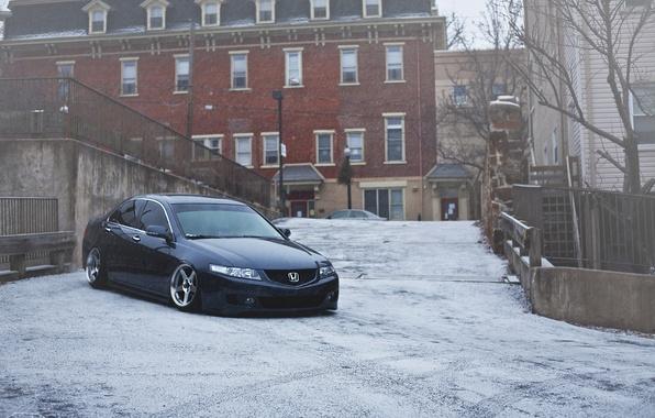 Картинка зима, снег, город, Honda, accord, stance